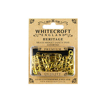 Whitecroft Heritage Brass Midget Safety Pins Assorted 89331