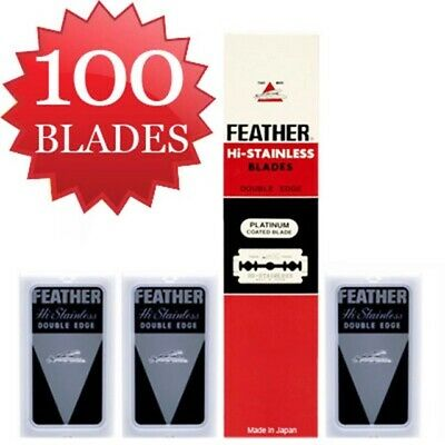 Razor Blades Hi Stainless Shaving FEATHER Double Coated classic Vintage 5'sx100
