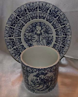 VINTAGE Nymolle Bjorn Wiinblad Plate and Matching PLanter In Blue!
