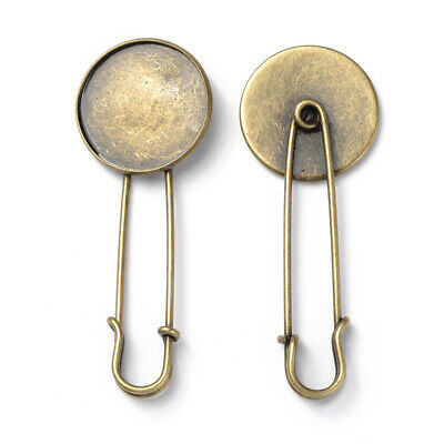 10PCS Brass Brooch Base Settings for DIY Brooch Making Round Tray Antique Bronze