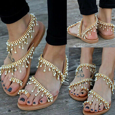 1d50daea4 Womens Bohemian Sandals Flats Braided Tassel Toe Ring Summer Beach Flat  Sandals
