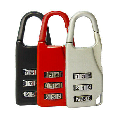 Resettable 3 Digit Combination Lock Travel Luggage Suitcase Code Padlock 6 color