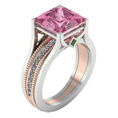 Exquisite Pink Sapphire Zircon Princess Wedding Ring 925 Silver Jewelry Size6-10