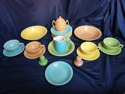 Vintage~Lu-Ray~ look-a-like ~ 23 Piece~ Pastel Color~Tea Dish Set~ Unmarked~CUTE