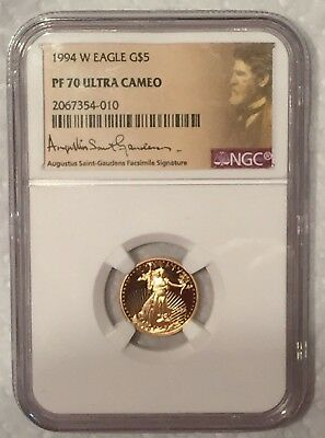 1994-W $5 American Gold Eagle NGC PF70 Ultra Cameo : Sharp Gold Contrast
