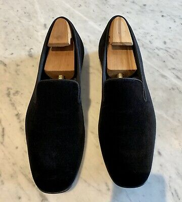 347096ade98a4 Peal   Co X Brooks Brothers Black Velvet Loafers Formal Stubbs Slippers  Wootton