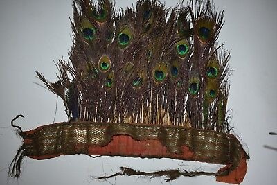 "orig $299-NEPAL/TIBET SHAMAN HEADRESS, peacock feathers EARLY 1900S 14"" prov"