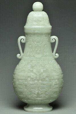 Large Chinese White Jade Archaistic Vase And Cover
