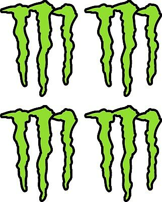 4 X Monster Claw Energy Stickers Decals