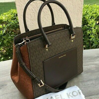 31b34b6b4684 NWT Michael Kors BENNING Large Satchel Crossbody Bag in Brown/Bronze Multi  ~$378
