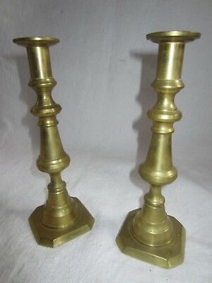 "Antique Brass Candlesticks with push ups  (pair) 9 1/2"" English"