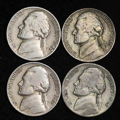 1942 P D S Jefferson Nickel Set (4 Coin Lot) 2 Silver War Nickels Nice GOOD / VG