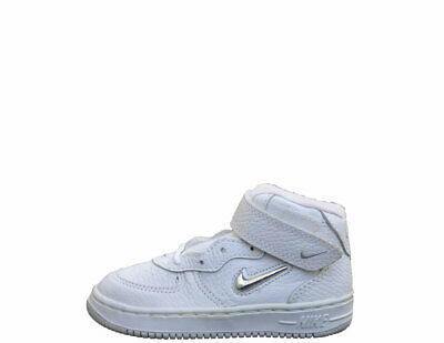 check out ebf0b d3280 Baby Nike Air Force 1 SJ SC Mid White Metallic Silver Jewel DS 8.5 10