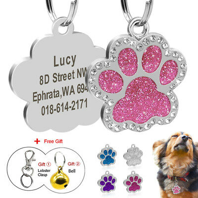 Glitter Paw Print Personalised Dog Tags Bling Rhinstone Engraved Pet ID Tag