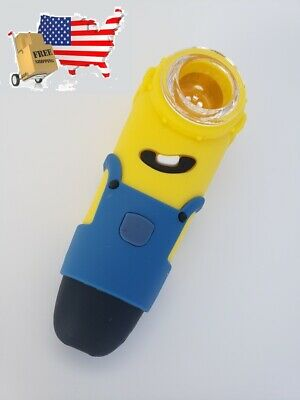 4inch Silicone Smoking Hand Pipe (MINIONS!!!) 100% Unbreakable & Portable.