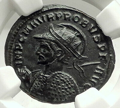 PROBUS in HEROIC Military Attire 280AD Authentic Ancient Roman Coin NGC i76006