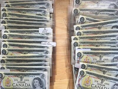 PREFIXES for 1973  Bank of Canada $1 All UNCIRCULATED CONDITION