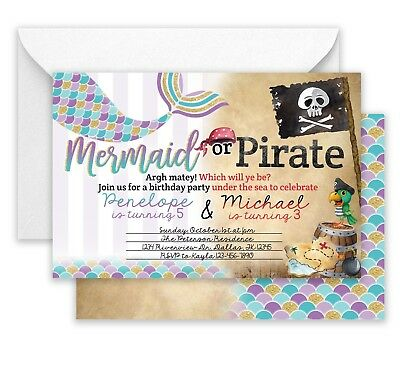 Mermaid Pirate Birthday Party Invitations Invite 25 Double Sided