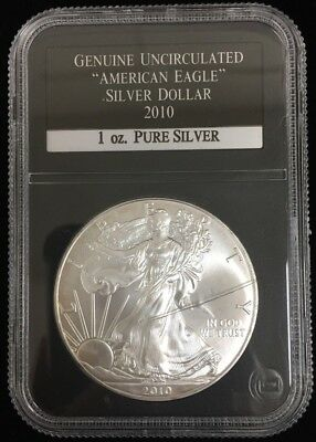 Uncirculated 2010 American Silver Eagle in PCS Stamp & Coin Slab / Holder #SC20