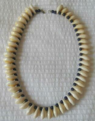 Tribal Papua New Guinea Png Cowrie Shell With Small Blue Beads Necklace