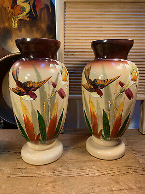 Pair Antique Victorian English Bristol Hand Decorated Glass Vases 34cm