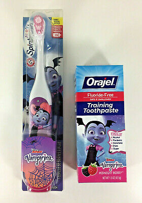 NEW Arm & Hammer VAMPIRINA Powered TOOTHBRUSH TOOTHPASTE Easter Candy Basket