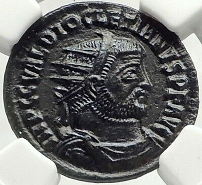 DIOCLETIAN Authentic Ancient 295AD Genuine Roman Coin w JUPITER NGC AU i76164