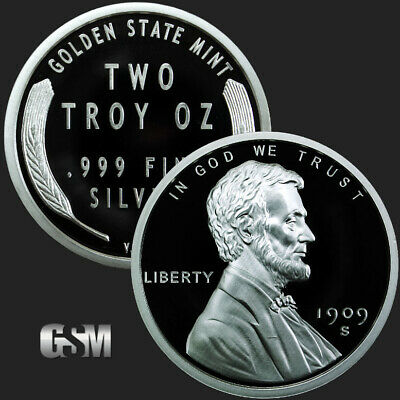 2 - 2 oz .999 Silver Rounds - Lincoln Wheat Cent - Brilliant Uncirculated