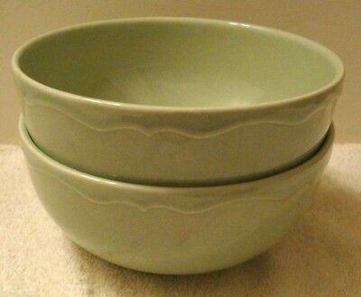 "2pc Varages Luberon Pale Green Cereal Soup Salad Bowls 6-1/4"" made in FRANCE"