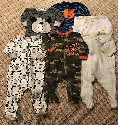 c842b442870c LOT OF 6 Boys Carters Footed Sleeper Pajamas 0 - 3   3 - 6 months ...