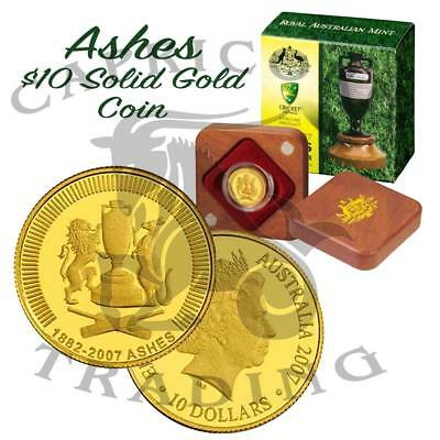 2007 Ashes Series $10 Gold Proof Coin. re