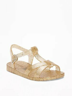 cb66bb8b74ac New Toddler Girl Old Navy Gold Glitter T-Strap Jelly Sandals Size 5