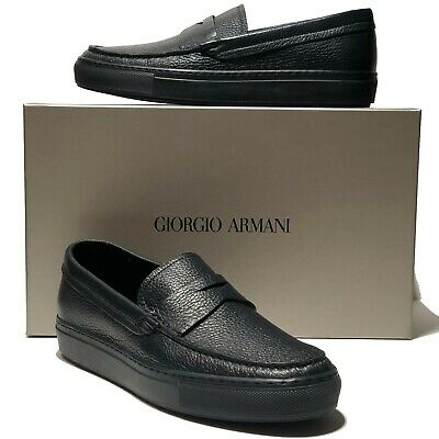 dd4fda6244f6 Armani Pebbled Blue Leather Penny Loafers Men s Dress Shoes 10 43 Moccasin  Black