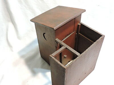 Primitive Handmade Folk Art- Miniature Wooden Girls 2 Seater Outhouse 12 x 8 3/4