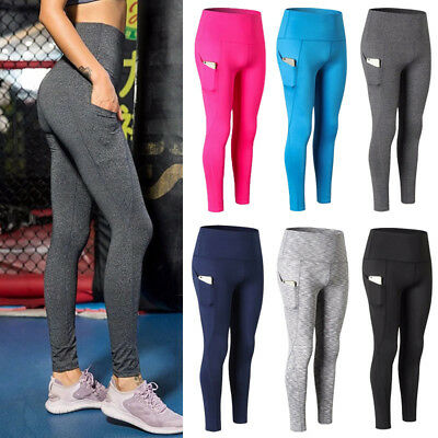 Compression Women Yoga Leggings Fitness Sports Athletic Gym Trousers With Pocket