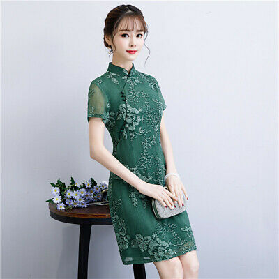 528e14cac Fashion New Chinese Women's embroider Mini Dress Lace Short sleeves  Cheongsam
