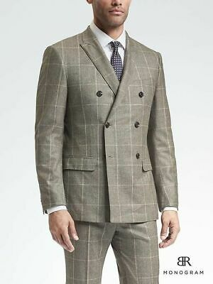 a4ba900d6cfd NEW Monogram Banana Republic Slim Brown Plaid Wool Double-Breasted Suit  Jacket