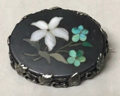 Antique Victorian Sterling Silver Pietra Dura Mosaic Flowers Brooch Pin, Nice!!!