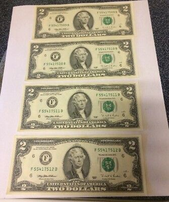 Lot 4 1995 US 2 Two Dollar Bill  Consecutive  numbers & uncirculated