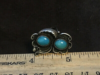 beautiful turquoise and silver ring by Leander Nezzie Navajo sleeping beauty