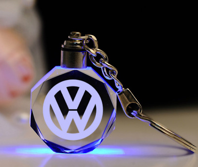 Car logo LED keychain crystal engraving color pendant accessories 1PCS