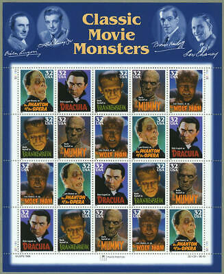 US #3168-72 3168-3172 3172a 32¢ Classic Movie Monsters Sheet of 20 VF NH MNH