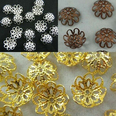 ALS_ 200 Pcs Fashion Hollow Flower Bead Caps Jewelry Findings DIY Loose Beads Ra