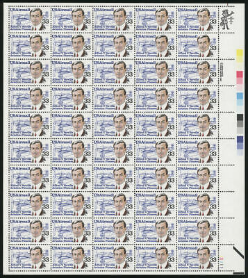US #C113 33¢ Aviation Pioneer Alfred Verville Airmail Sheet of 50 VF NH MNH