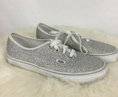 415b994c8a Vans Shoes Sneakers Silver Glitter Sparkle Metallic Size Womens 6 Lace Up