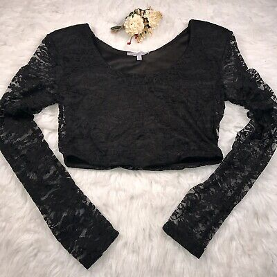 01f51bf5ebbb46 Small Charlotte Russe Black Lace Crop Top Long Sheer Sleeves Lined Shoulder  Pads