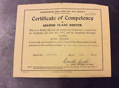 Second Class Driver Certificate of Competency - 1942