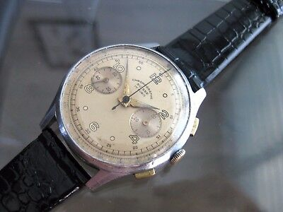 Vintage And Rare Chronograph Suisse Venus  17 Jewels Swiss Made Wristwatch