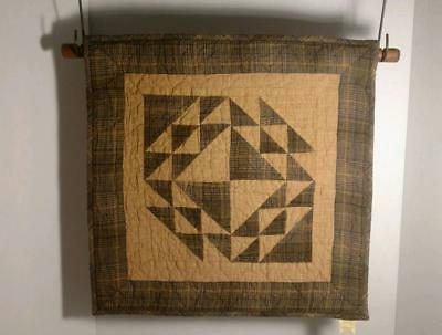 """Quilt Block Wall Hanging Colonial Patches Handmade 100% Cotton 18"""" square"""