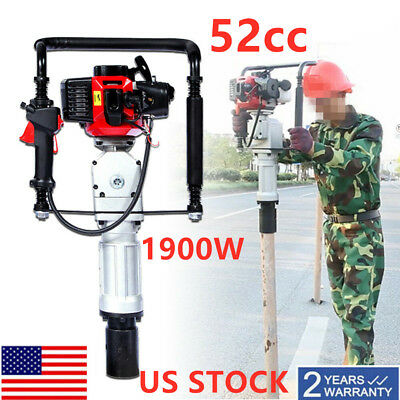 52cc Pile Driver 2 Stroke Motor Post Gasoline Petrol Air cooling Tool Machine US